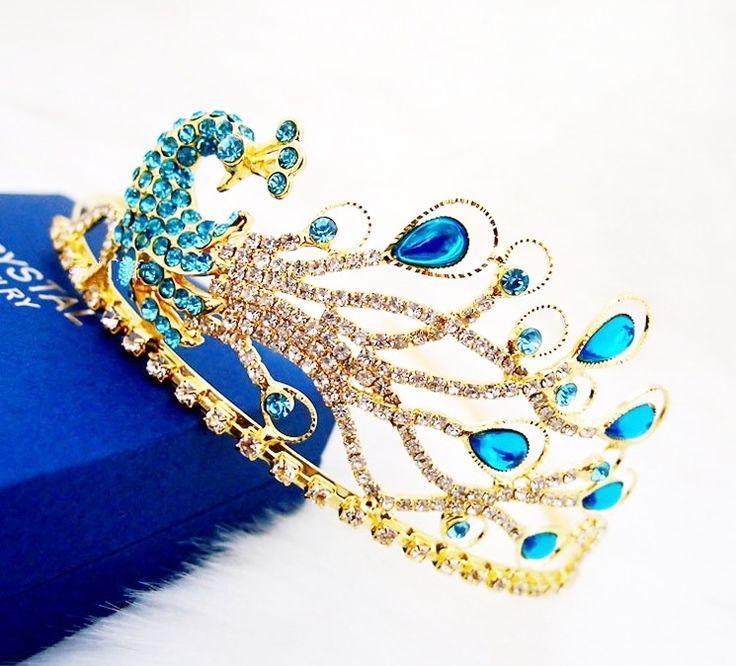 peacock crown | 2013 Peacock Rhinestone Crystal Tiara Crown Vintage Bride Quinceanera ...