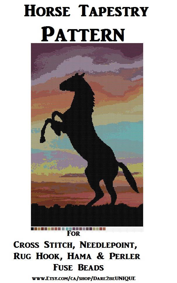 Horse Tapestry PATTERN, Cross Stitch, Needlepoint Embroidery Latch Hook Rug Designs, Perler Patterns, Hama Crafts, Horses, Download PDF by Dare2beUNIQUE on Etsy