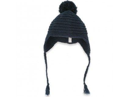 Bonnet bébé coloris bleu nuit, style péruvien, tricoté main en France au  point de godron et au point mousse, en laine mérinos qui ne gratte pas.