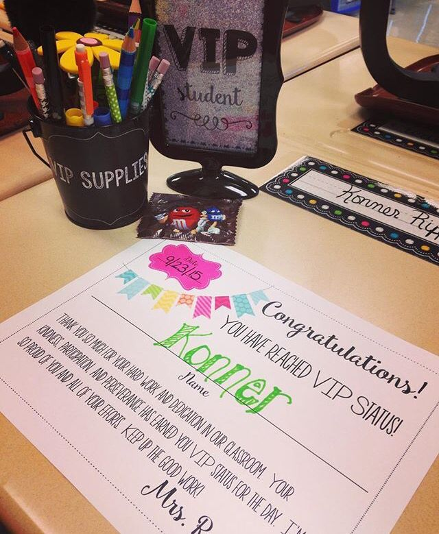VIP Table - fun and free way to reward/motivate students for hard work and good behavior!