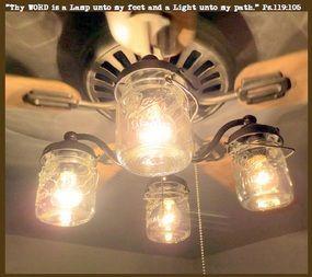 Mason Jar CEILING FAN Light Kit New Quart Jars. Deckenleuchtenabdeckungen Deckenventilator SetsEinmachglas LeuchtenLeuchtenKronleuchter ...