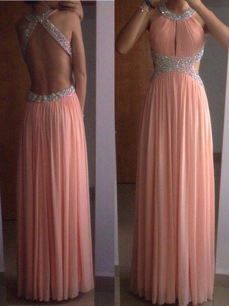 A-Line/Princess Sleeveless Scoop Chiffon Pleats Floor-Length Dresses JollyProm