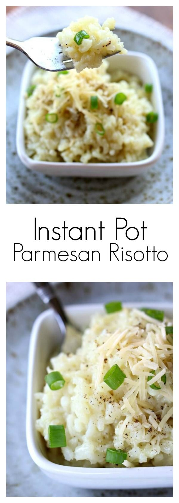 Instant Pot Parmesan Risotto–Creamy, no fuss and no stir risotto made in just a few minutes in your electric pressure cooker. #instantpot