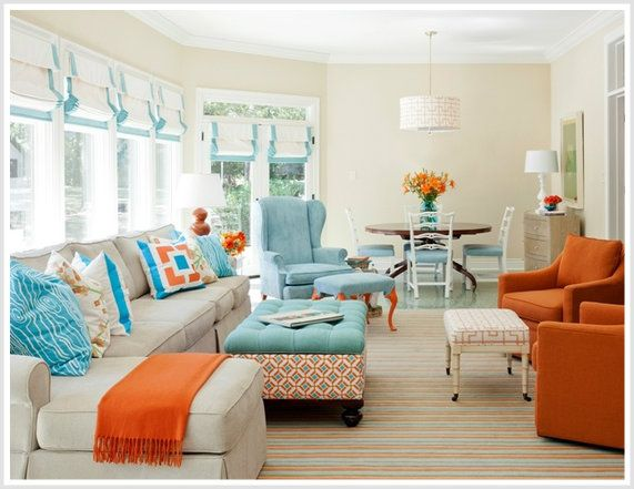 I love the light color scheme with the orange contrast for Interior home color combinations and contrast