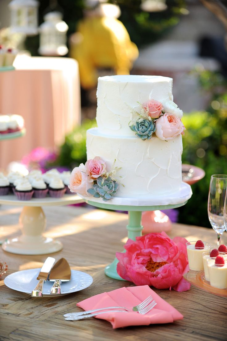Wedding cake, 2 tier. Vintage dessert bar. Coral, peach, mint green. Pedestal cake stand. Peonies, succulents, garden roses, astilbe. Florals by Jenny// Images © Gavin Wade Photographers - www.gavinwadephoto.com