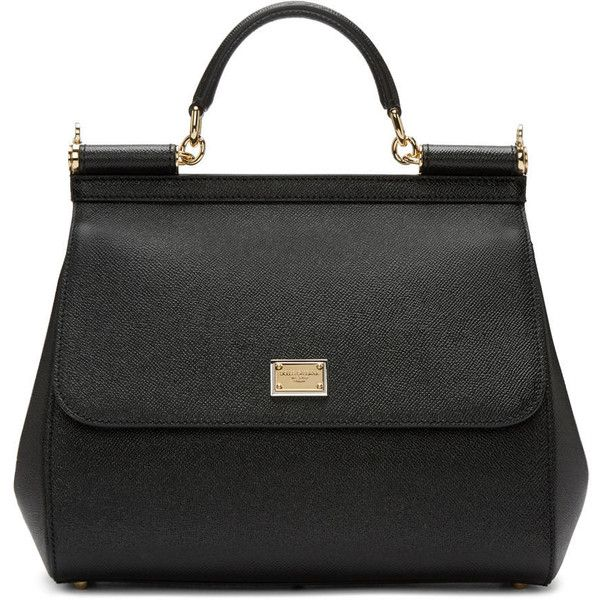 Dolce and Gabbana Black Large Miss Sicily Bag ($1,905) ❤ liked on Polyvore featuring bags, handbags, shoulder bags, shoulder bag purse, shoulder handbags, zip purse, studded purse and magnetic purse