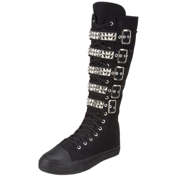 Demonia By Pleaser Men'S Deviant-304 Lace-Up ($85) ❤ liked on Polyvore featuring men's fashion, men's shoes, shoes, boots, mens shoes, mens wide shoes, mens lace up shoes and mens canvas shoes