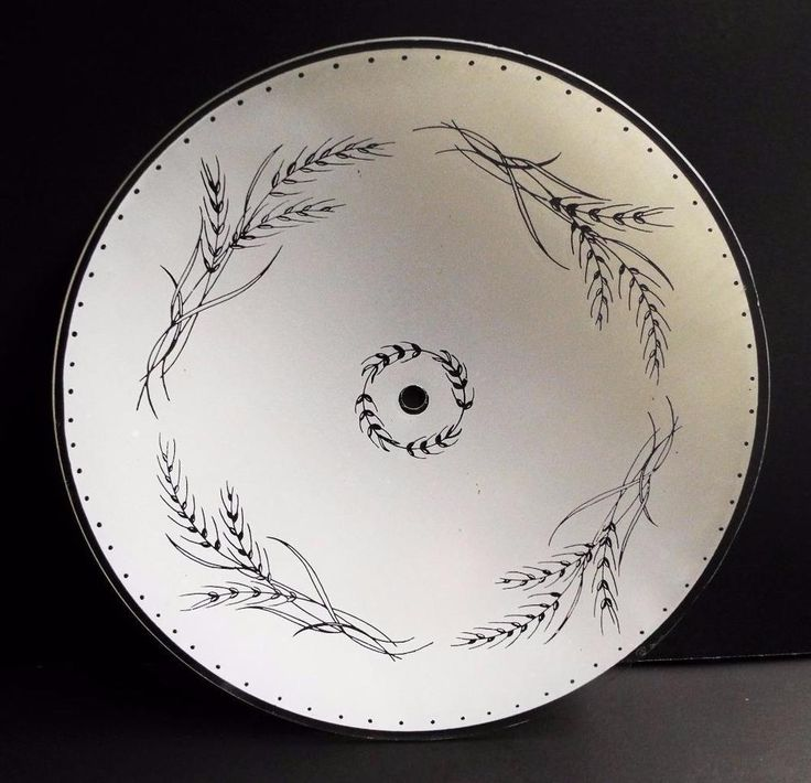 """Frosted Wheat Pattern Round Glass Ceiling Light Cover 12"""" Round Country Vintage"""