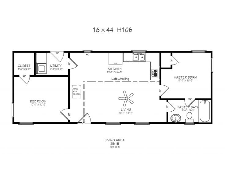 14X36 Cabin Plans | windows, Full bath, W/D hookup, Loft w/Railing, 2 ...