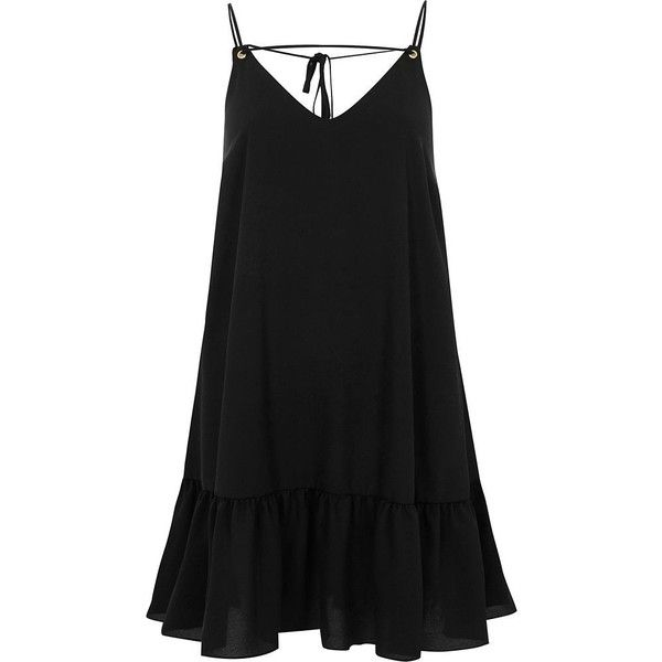 River Island Black frill hem cami dress ($56) ❤ liked on Polyvore featuring dresses, black, slip & cami dresses, women, v neck slip dress, camisole dress, v neck camisole, slip camisole and ruffle hem dress