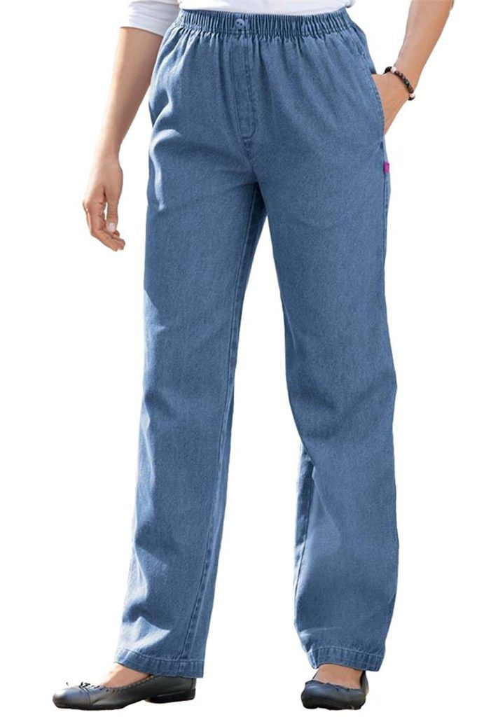 b9a7966b1bf Women s Plus Size Petite Comfort Jeans With Elastic Waist
