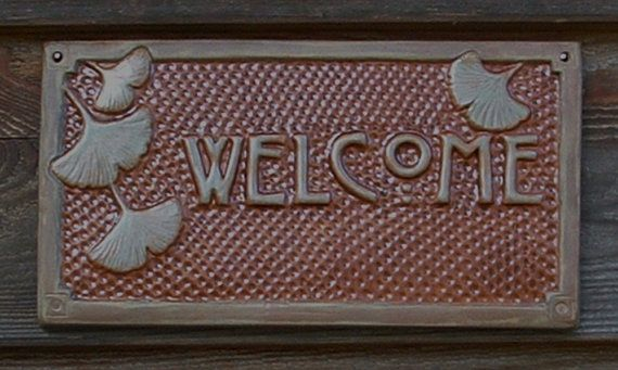 WHAT IT IS- Gingko/Ginkgo Welcome Sign for front door decor CHRISTMAS GIFT, for a person or a family  STYLE - Craftsman/Bungalow/Arts and