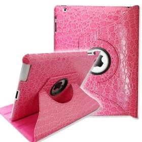 Pink Crocodile Leather Cover Case for Apple iPad 2