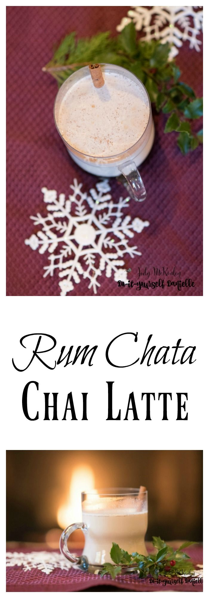Rum Chata Chai Lattes can be served hot or cold, yum! These would make a great holiday drink.  #christmas #beverage #Cocktail