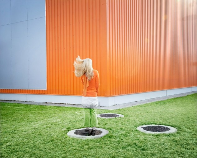 """Pictures of people wearing the perfect clothes to hide against the background.    In a series very similar to """"Waves"""" by Wilma Hurskainen, photographer Bence Bakonyi combines perfect placement and just the right colors of clothing to capture his subjects blending into their background…"""