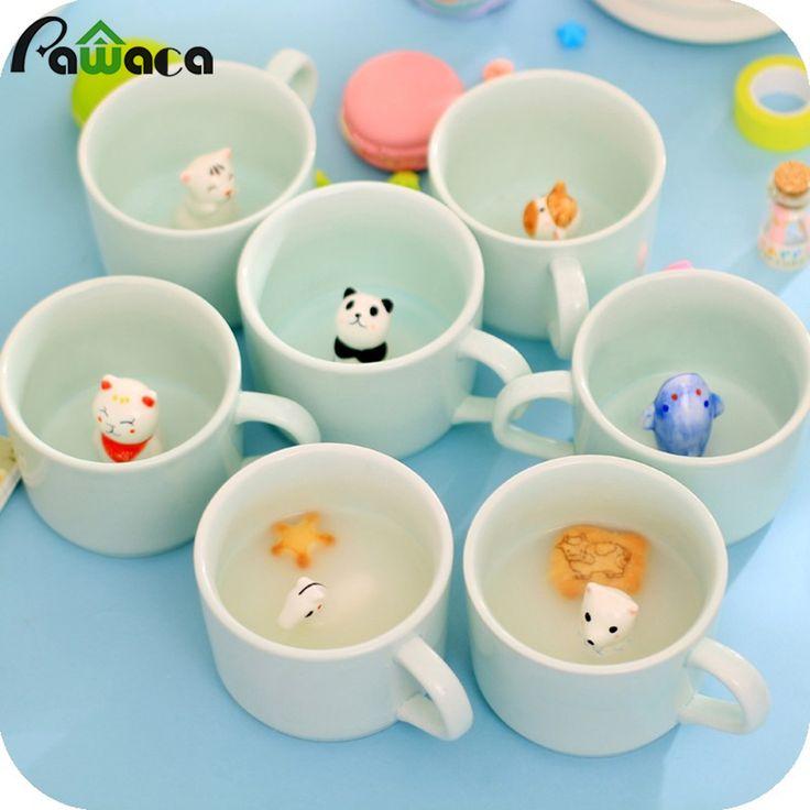 250 мл Симпатичные Celadon Животных Дно Керамических Чашка Кофе 3D Панда Трехмерная Мятно-Зеленый Чай с Молоком Чашки Кружки Персонализированные Подарки(China (Mainland))