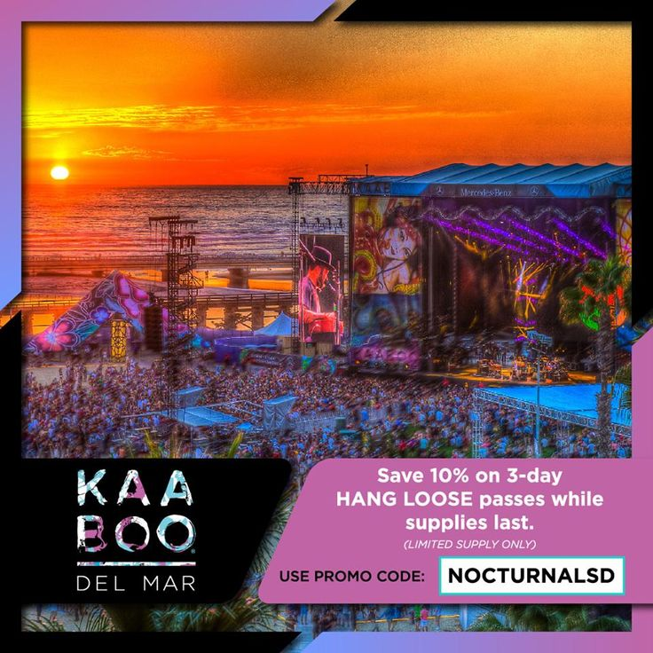 "KAABOO TICKETS GET THEM NOW   PROMO CODE DISCOUNT ""NOCTURNALSD""  At https://www.kaaboodelmar.com/  #Kaaboo #Music #concert #Kaaboodelmar #Redhotchillipeppers #Pink #Muse #Weezer #Davidguetta #Icecube #Jacksonbrowne #delmarfair #delmarracing #openingday #delmar #openingdaydelmar #delmarfairgrounds #sandiegofairgrounds #delmarfair #Michaelmcdonald #Thewallflowers #DJdiesel #Machinegunkelly #Pepper #Smashmouth"