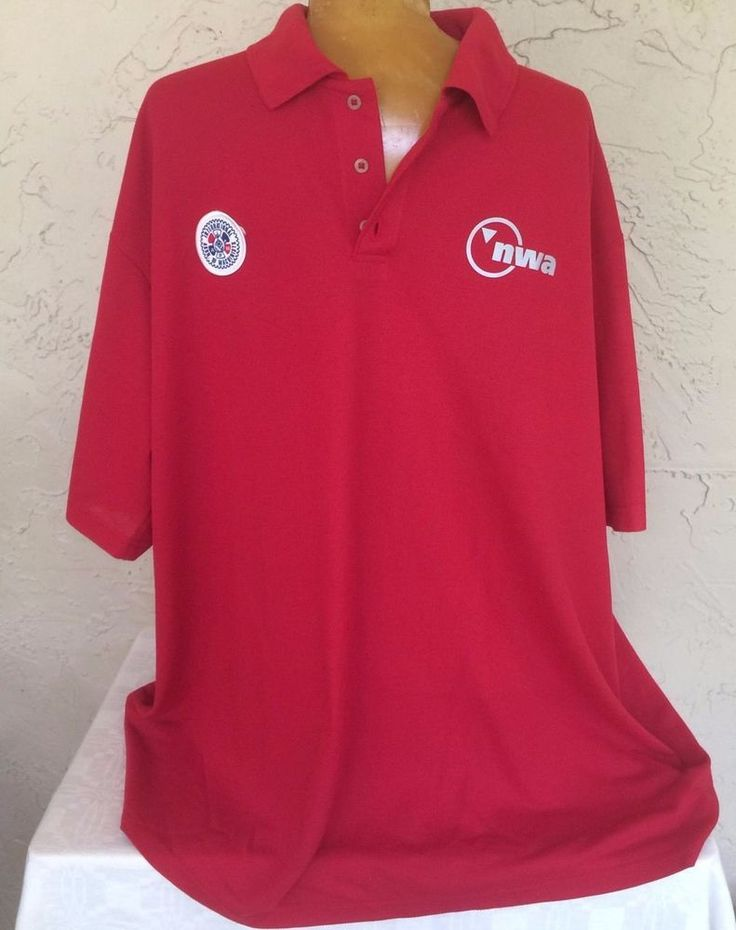 NWA Northwest Airlines Mechanics Machinists Union Work Polo Shirt Red