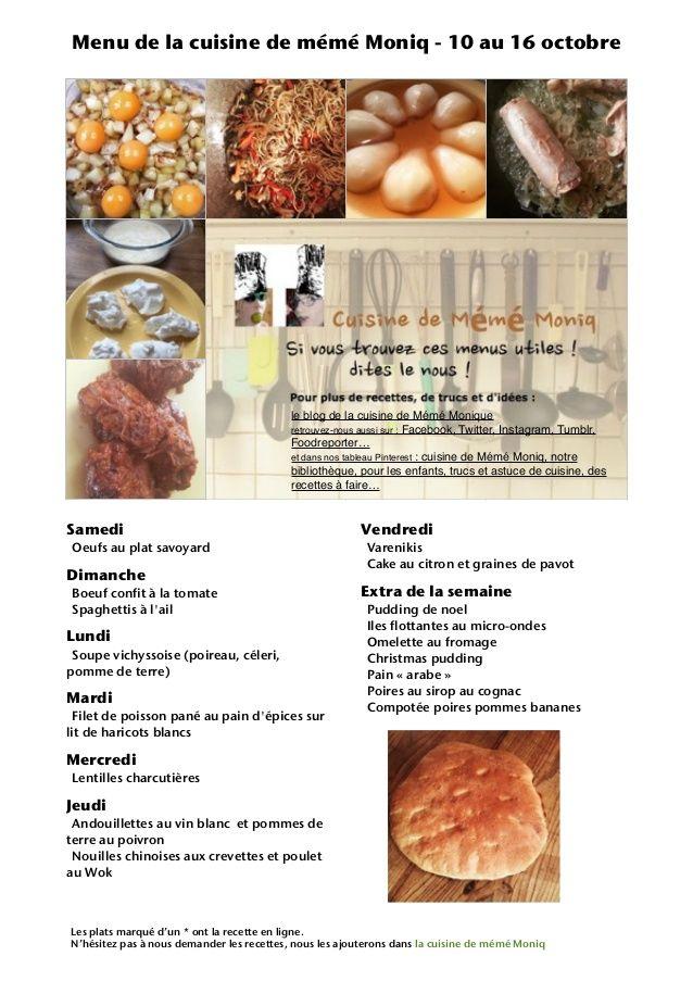 Pin By La Cuisine De Meme Moniq On Menu De La Semaine De La