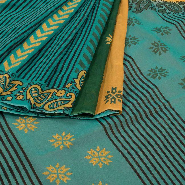 Jullaaha Hand Printed Georgette Saree with Stripes 10006295 - AVISHYA