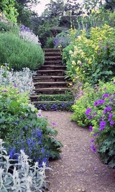 Benington Lordship Garden ~ Hertfordshire - herbaceous borders and a rockery