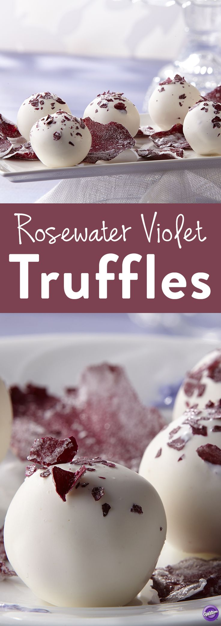 Rosewater Violet Truffles - These floral infused truffles will melt even the coldest of hearts with their combination of white chocolate, rosewater and violet. Great for wedding shower desserts or as a gift to your party host.