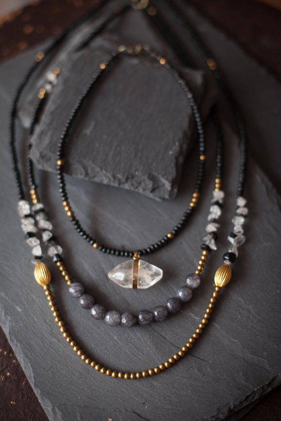 695586e1fc2e9 Mixed Media Boho Necklace / Crystal necklace / Choker Necklace ...