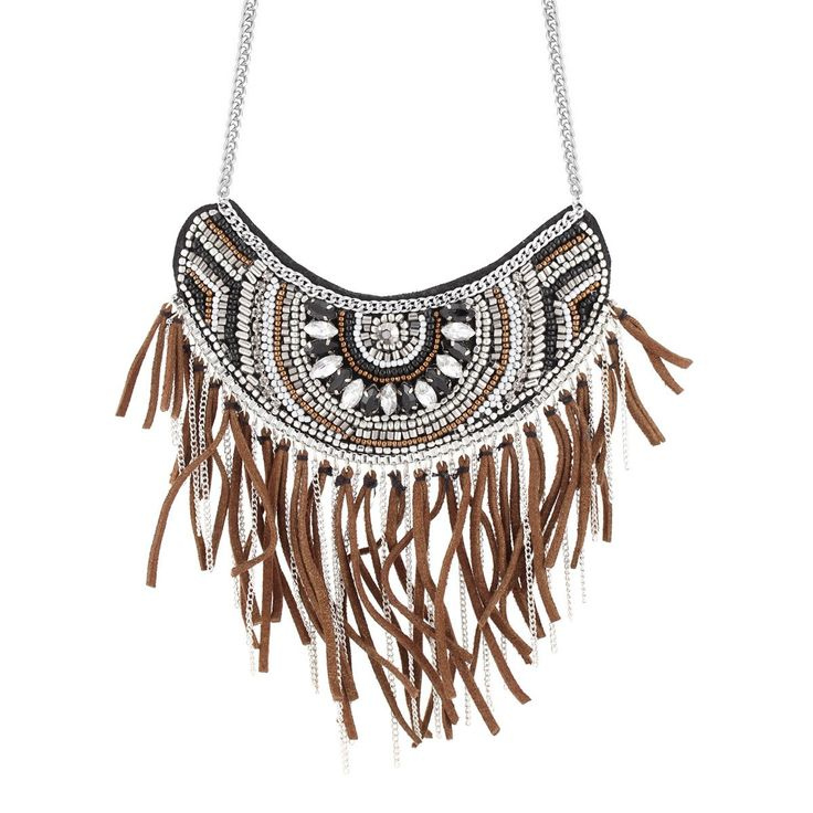 Taza-Silver-Tone Metal Balck And White Crystal Brown Necklace
