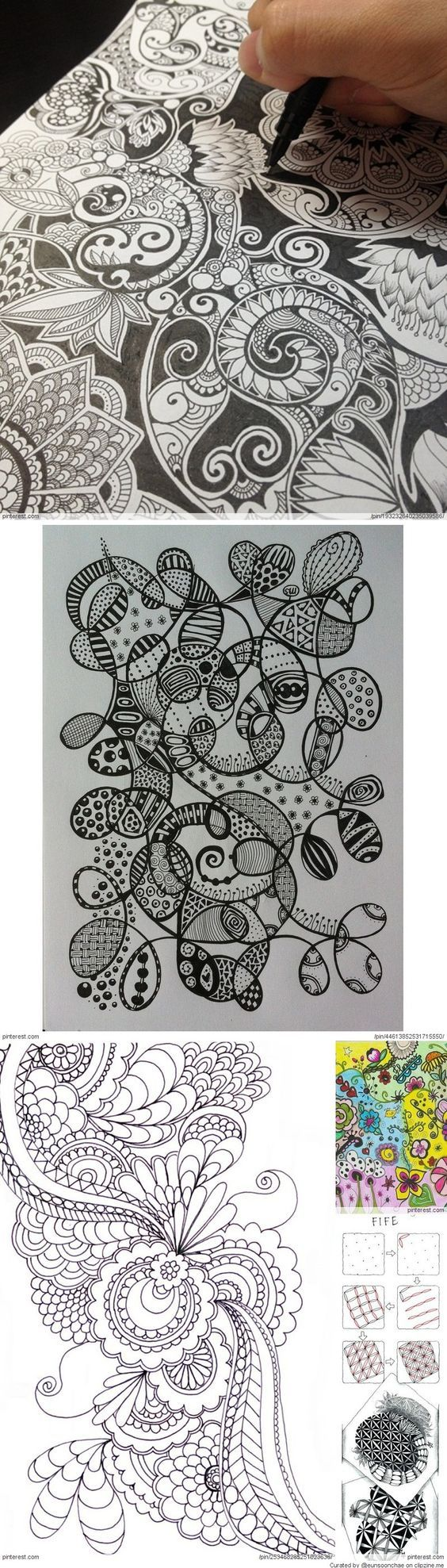 Zentangle Patterns & Ideas: I like the idea of having 'blank' space to color in black/another color.