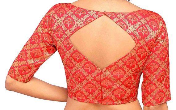 Designer Readymade Benaras Brocade Stitched Wedding Christmas Party Wear Indianattire BOAT NECK Blouse Crop Sari Top For Women