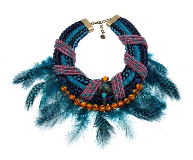 """""""Protea"""" - Handmade bronze metal plated necklace with Swarovski strasses, beads, rope and feathers, by Art Wear Dimitriadis"""