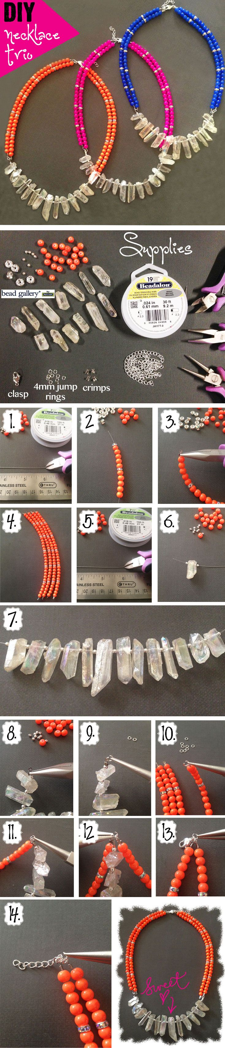 DIY Jewelry Statement Necklace Trio - easy step-by-step to create your own summer jewelry
