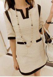 $12.19 Estilo Elegante Gola Concha 1/2 Mangas Bloco de Cor Botão Embelezado Vestido para Mulher