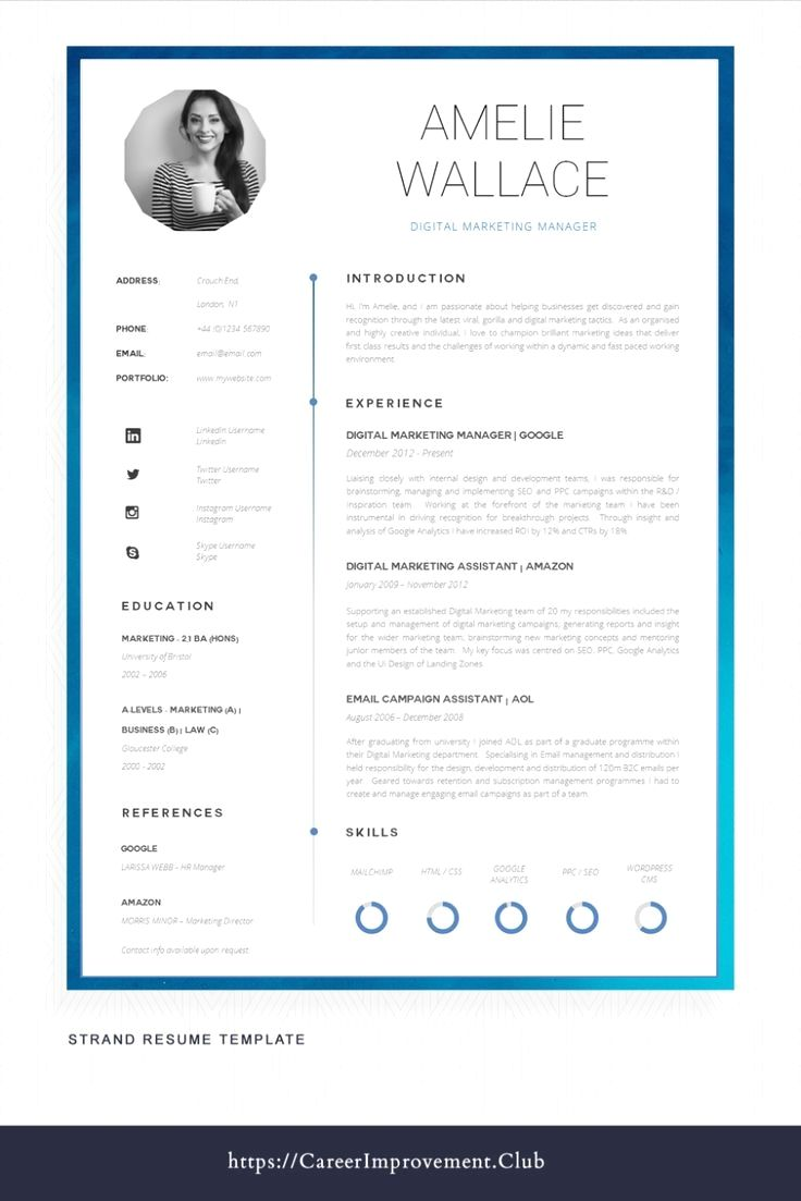 Resume Template With Headshot Photo Cover Letter 1 Page Word Resume Design Diy Cv Template Creative Cvs Creative Cv Template Resume Template