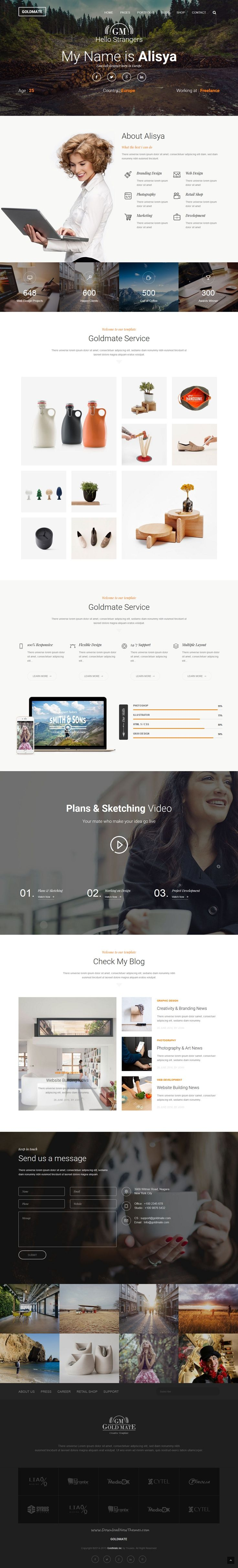 GoldMate is an creative Bootstrap #HTML #Template for multipurpose #freelancer…
