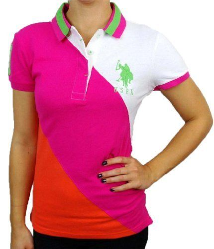 New U.S. Polo Assn Women's Pink Color Block Diagonal Polo Shirt with Big Pony U.S. Polo Assn.. $27.99. Number icon at the sleeve. U.S.P.A. big pony embroidery at the chest. 95% cotton, 5% spandex. Ribbed knit polo collar.. Three-button shirt placket / Split side hem.