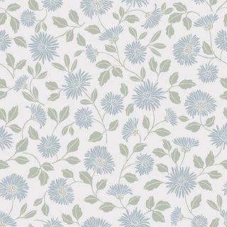 Tapet i kollektionen Borosan 14 med färg Blå, Grön, Vit och mönster Blommigt.