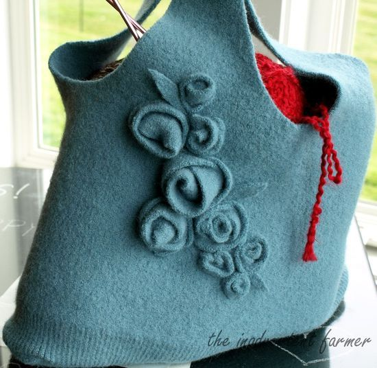 Awesome DIY tutorial on a wool sweater to a pretty bag!!!  http://notdabblinginnormal.wordpress.com/2010/03/15/re-purposing-wool-sweater-bag-tutorial/