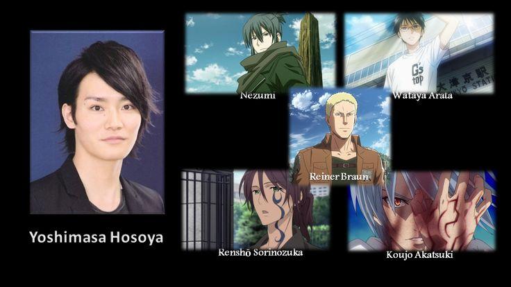 Yoshimasa Hosoya, (No. 6 as Nezumi, Chihayafuru as Wataya Arata, Inu x Boku SS as Renshō Sorinozuka, Attack on Titan as Reiner Braun, Strike the Blood as Koujo Akatsuki )