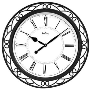 "Easton 22"" Round Wrought Iron Wall Clock transitional-clocks"