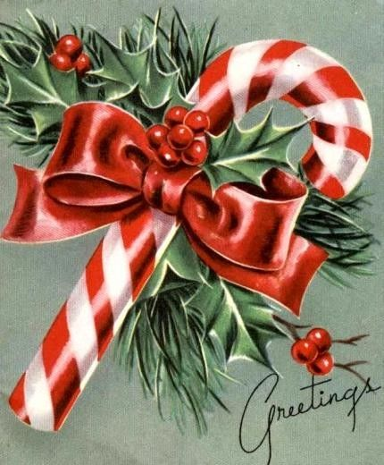 Candy Cane Vintage 1950's Christmas Card  → For more, please visit me at: www.facebook.com/jolly.ollie.77: