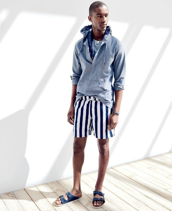 "J.Crew men's baja shirt in chambray, 6"" swim trunk in astor blue stripe and Birkenstock® for J.Crew Arizona sandals. To pre-order, call 800 261 7422 or email verypersonalstylist@jcrew.com."