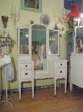 antique vanity dressing table shabby chic pink distressed - eclectic - makeup mirrors - new york - Donna Thomas Vintage Chic Furniture