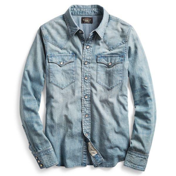 Vintage Blue Blue Japan Western Work Wear Double Pocket Chambray Jeans Buttondown Shirt Size M