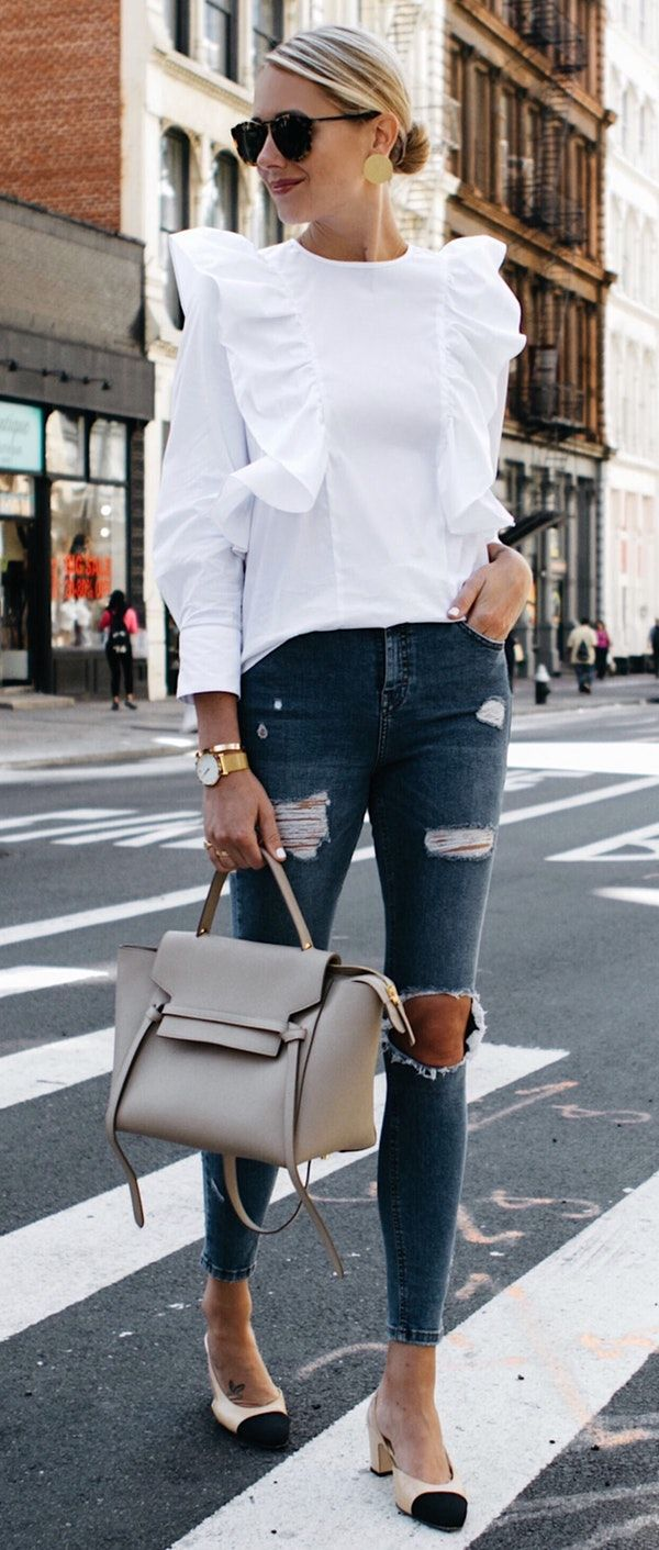 b085dd34 #fall #outfits women's white crew-neck long-sleeve shirt and distressed  blue jeans and white-black leather kitten heel sandals