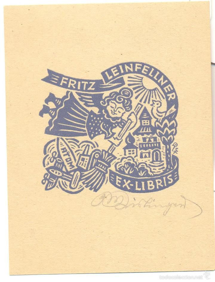 Exlibris - Max Kislinger, 1951. Jet Pump Broom Angel Bird House