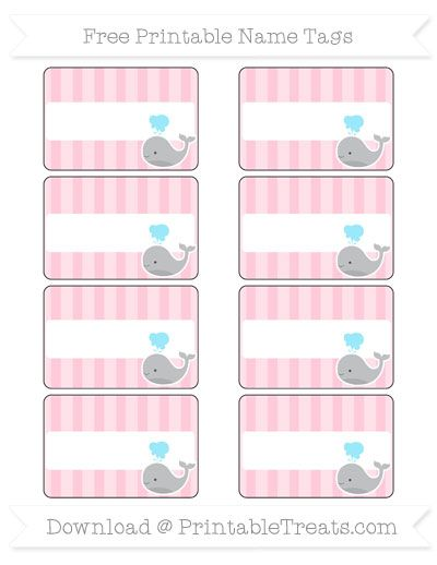 Free Pink Striped  Whale Name Tags