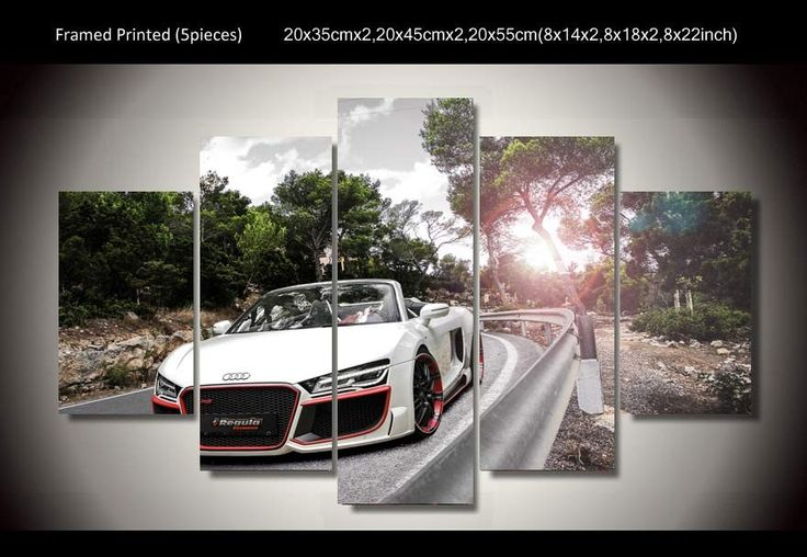 Printed Car audi spyder 5 piece picture painting wall art children's room decor poster canvas Free shipping art picture w0435 //Price: $18.41 & FREE Shipping //     #hashtag2