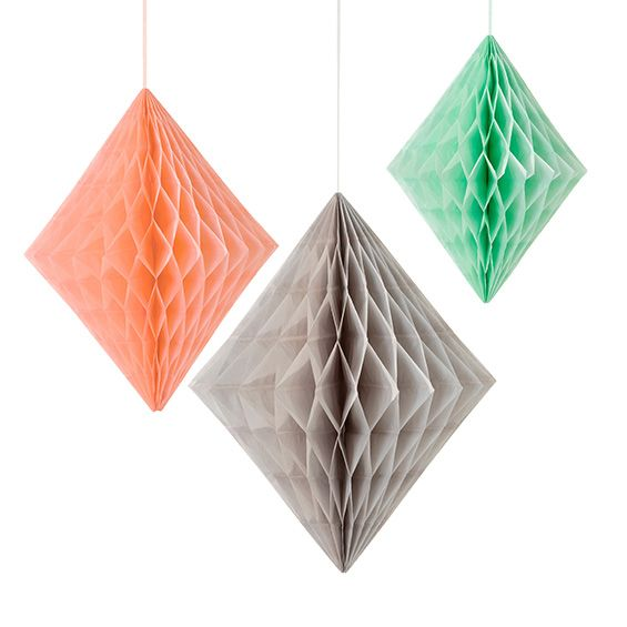 Geo honeycomb wedding decorations trio - peach/mint