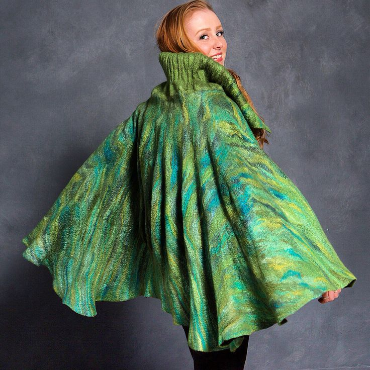 Felted Merino and Silk Cape with a Bubble Collar.